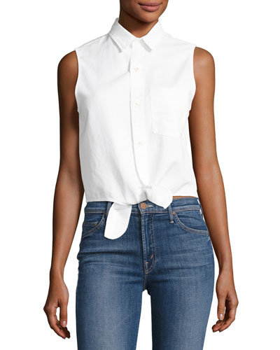 Foxy Knot Sleeveless Button-Front Top, White