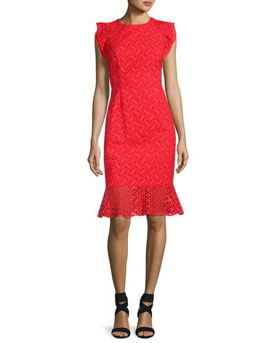 Harlow Sleeveless Embroidered Eyelet Cocktail Dress, Red
