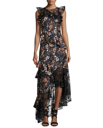 Titiana Sleeveless Silk Twill Garden Cocktail Dress, Jet