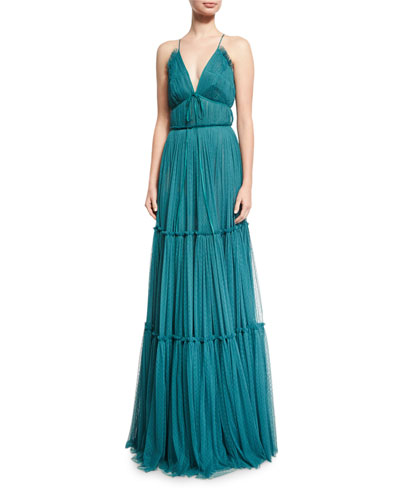 Vivien Shirred Silk Point d'Esprit Gown, Teal