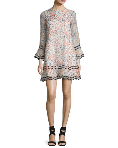 New Sveta Waved Floral Silk Cocktail Dress, Ivory