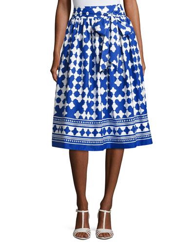 lantern poplin tie-waist midi skirt, blue/white