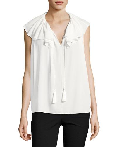 silk georgette tie-neck top, white