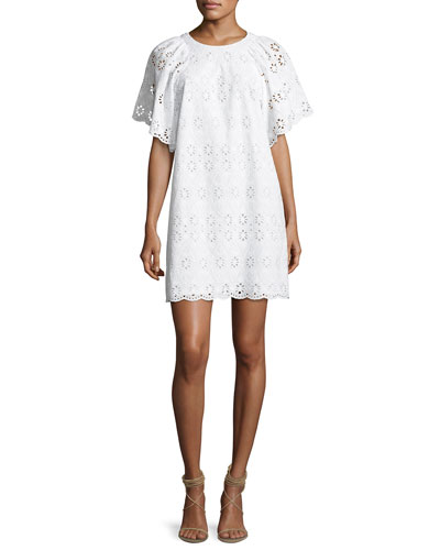 short-sleeve eyelet shift dress, white