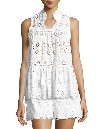 sleeveless floral eyelet top, fresh white