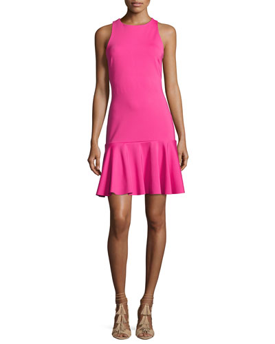 Fantastic Sleeveless Ponte Flounce Dress, Brilliant Fuchsia