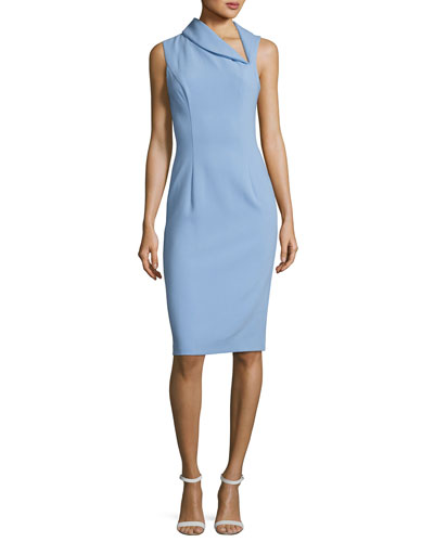 Blaze Sleeveless Asymmetric Sheath Dress, Blue