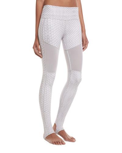 Hillcrest Stirrup Python Performance Leggings, White Pattern