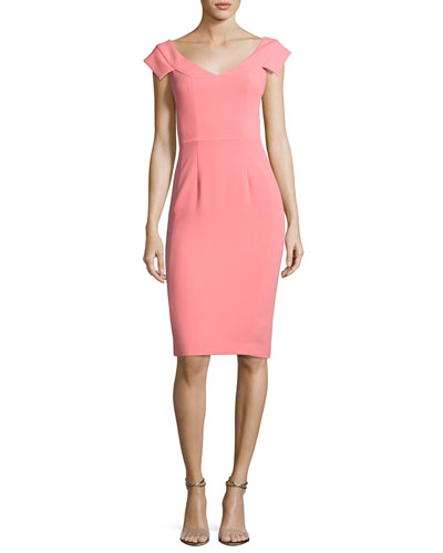 Brooks Cap-Sleeve Ponte Sheath Dress, Carnival
