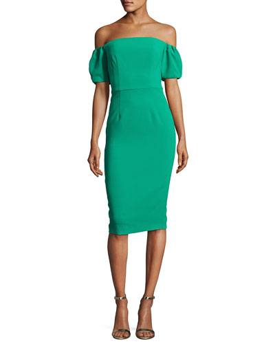Arden Off-the-Shoulder Ponte Sheath Dress, Green