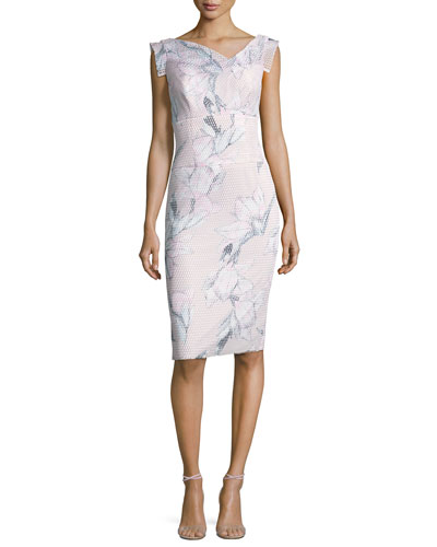 Jackie Floral Mesh Sheath Dress, Pink/Multicolor