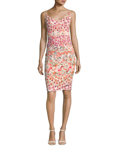 Jevette Sleeveless Floral Sheath Dress, Multicolor
