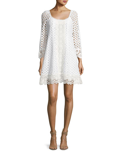 Eye Candy Cotton Eyelet Swing Dress, White