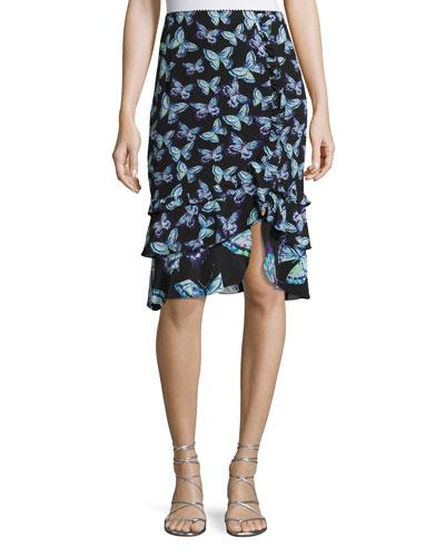 Farfalla Tiered Silk Butterfly Skirt, Black