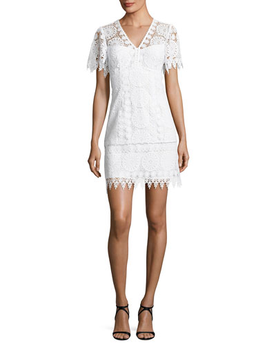 Dandelion Short-Sleeve Lace Shift Dress, White