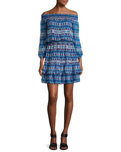Rosalyn Off-the-Shoulder Printed Silk Blouson Dress, Navy