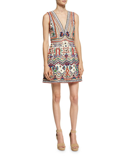 Patty Embellished Seamed A-Line Dress, Multi