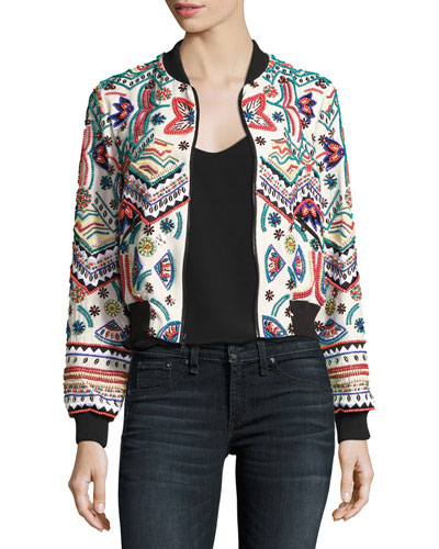 Lonnie Embroidered Cropped Silk Bomber Jacket, Multi