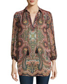 Sterling Half-Placket Tunic Top, Multiprint