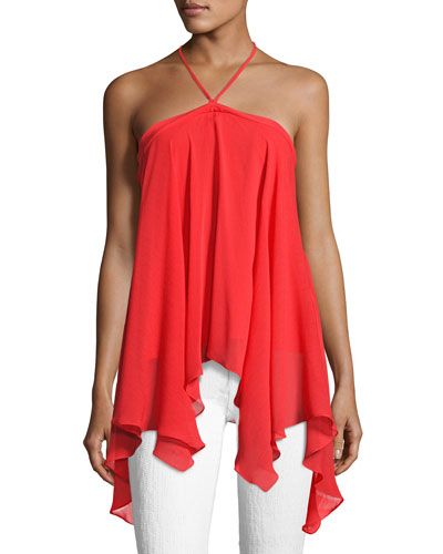 Tish Tie-Neck Handkerchief Top, Bright Red