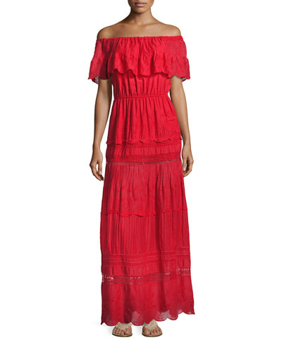 Pansy Embroidered Off-the-Shoulder Boho Maxi Dress, Bright Red