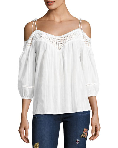 Polly Cold-Shoulder Cotton Blouse