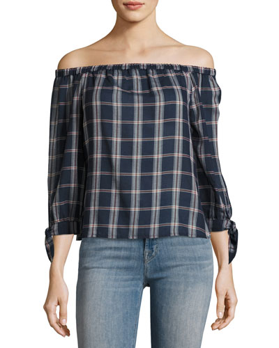 Antonia Plaid Cotton Top, Multi