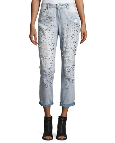 Embellished Boyfriend Denim Jeans, Indigo