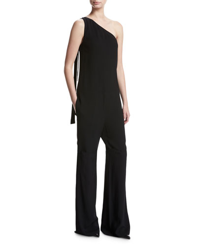 Eilidh Rosina Crepe One-Shoulder Jumpsuit, Black