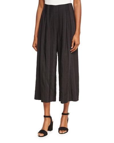 Shadow Stripe Wide-Leg Pants, Black