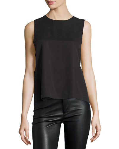 Sleeveless Lace-Back Grommet Top, Black