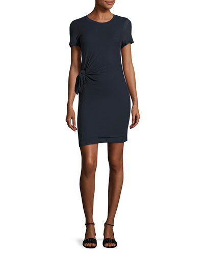 Knotted Short-Sleeve Cotton Dress