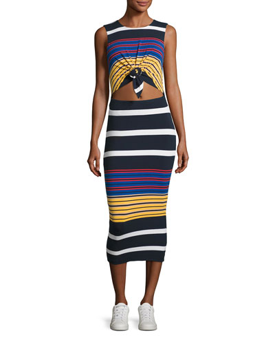 Multi-Stripe Body-Con Sleeveless Dress, Multicolor