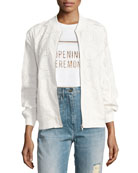 Anglaise Cotton Bomber Jacket, White