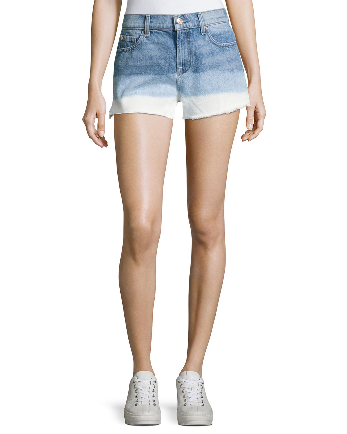 High-Waist Cutoff Shorts, Indigo
