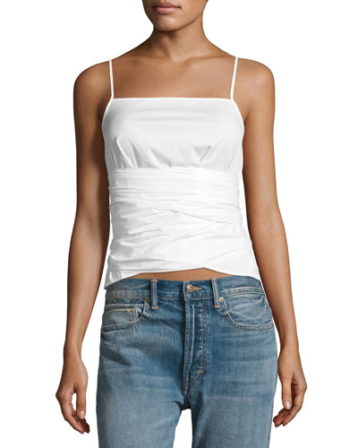 Montgomery Tie-Waist Sleeveless Top, White