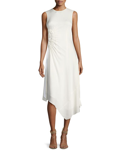 Martha Sleeveless Side Ruching Midi Dress, Ivory