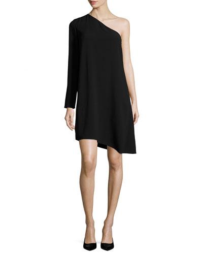 Sintsi Rosina Crepe One-Shoulder Dress, Black