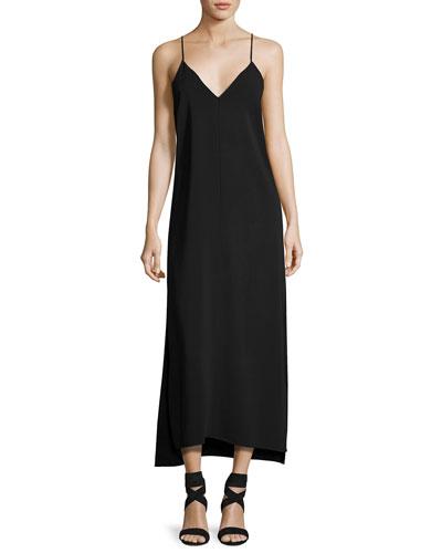 Dara V-Neck Sleeveless Slip-Style Dress, Black