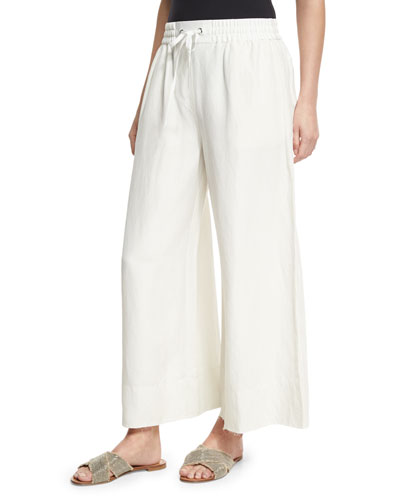 Halsey Wide-Leg Drawstring Pants, Ivory