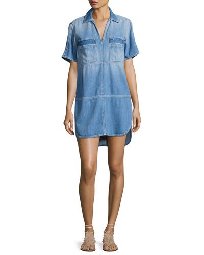 Short-Sleeve Popover Denim Dress, Indigo