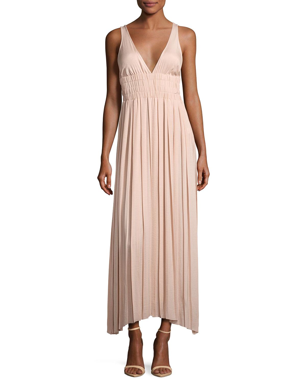 Ellison Sleeveless Smocked-Waist Gathered Dress, Light Beige