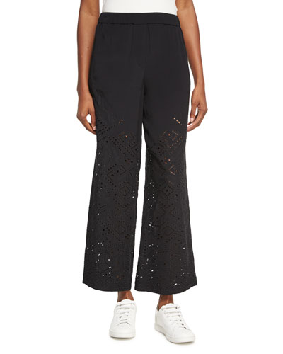 Alkes Ghost Crepe Eyelet Pants, Black