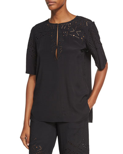 Antazie E2 Ghost Crepe Eyelet Top, Black
