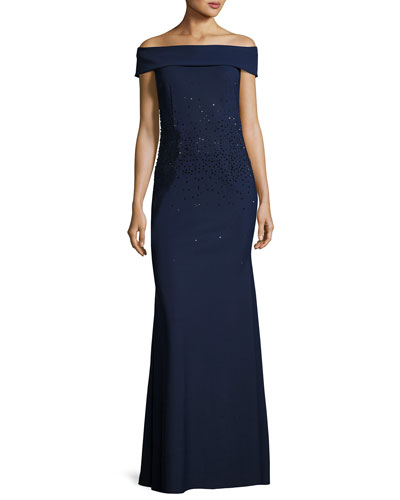 Off-the-Shoulder Sequined Ponte Gown, Blue