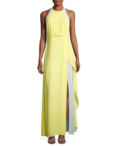 Camillia Halter-Neck Colorblocked Dress, Yellow