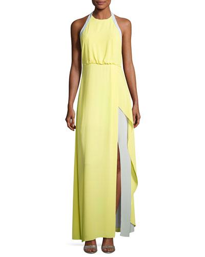Camillia Halter-Neck Colorblocked Dress, Yellow