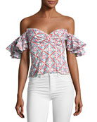 Louisa Printed Cotton Top, Pink