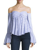 Max Off-the-Shoulder Bell-Sleeve Striped Poplin Top