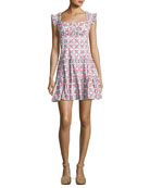 Maria Square-Neck Tiered Mini Dress, Pink